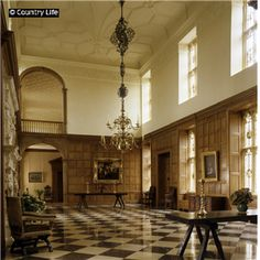 The great hall in the Tudor manor house, Sutton Place, Surrey  |  Easton Neston's Great Hall, as built by Hawksmoor as a double-height space, was based on the English manner house precedent as perfectly exemplified at Sutton Place.