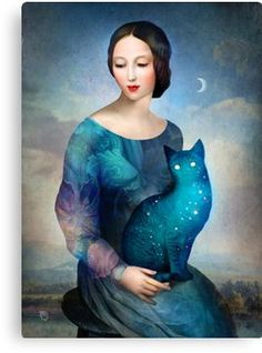 """Night Cat"" Digital Art by Christian Schloe posters, art prints, canvas prints, greeting cards or gallery prints. Find more Digital Art art prints and posters in the ARTFLAKES shop. Cat Art Print, Cat Posters, Canvas Prints, Art Prints, Moon Art, Surreal Art, Fantasy Art, Art Drawings, Art Photography"