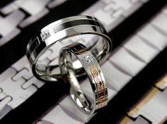 Name Engrave Korean His Her Titanium Steel Couple Ring Set