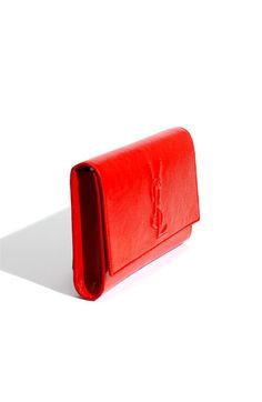 Yves Saint Laurent 'Belle de Jour - Large' Patent Envelope Clutch (in Deep Red)