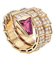 BVLGARI Serpenti double-coil 18ct pink-gold, diamond and rubellite ring