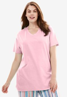 Personalized V-Neck Sleep Tee by Dreams & Co. - Women's Plus Size Clothing Plus Size Womens Clothing, Plus Size Outfits, Size Clothing, Chic Clothing, Sleek Look, Plus Size Wedding, V Neck Tops, Fashion Outfits, Fashion Trends
