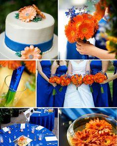 Como decorar bodas en azul y naranja. Esta decoración es ideal para todas las estaciones del año.