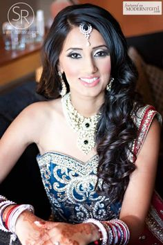 South Asian Bridal Reception Hairstyle Makeup Lengha - more inspiration @ http://www.ModernRani.com