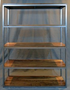 Walnut and steel frame bookcase by Fabitecture on Etsy, $1800.00