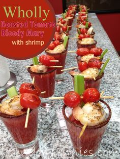 Amazing recipe to make Bloody Mary with Roasted Tomatoes and Shrimp for party food ideas or party drink ideas. Make a batch up to have these ready to go when your guests arrive. #WhollyHungryChefs