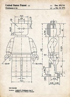20 free vintage printable blueprints and diagrams remodelaholic lego minifigure patent art drawing malvernweather Images