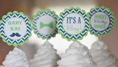 12 Baby Shower Lime Green Navy Chevron Mustache Bash Little Man Cupcake or Cake Toppers - Ask About our Party Pack Sale - Free Ship 60.00 on Etsy, $12.00
