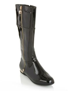 Long boots with zip detail   The gold zip detail and gold heel on these long black patent boots give these boots added appeal and edge.