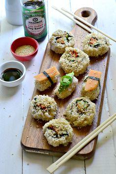 "Vegan Spicy ""Tuna""(less) Sushi: Tastes great, and not a fish in sight. Sushi Vegan, Vegan Vegetarian, Vegetarian Recipes, Healthy Recipes, Sushi Sushi, Quinoa Sushi, Sushi Rolls, Eat Healthy, Healthy Kids"