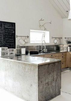 küche mit kochinsel aus beton