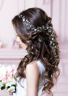 Cassiopeia Long bridal hair vine Flower Wedding headpiece with pearls and crystals