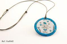 "Pendentif bleu - collection ""La Fée"" : Pendentif par doremifasolafimo"