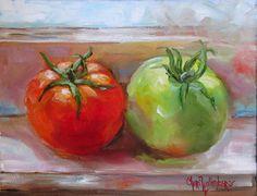 Tomate rojo tomate verde pequeño lienzo por ChatterBoxArt en Etsy
