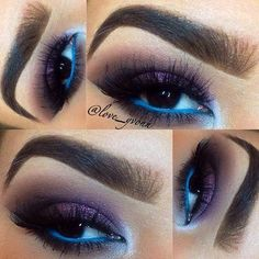 Purple Eyeshadow + Blue Waterline Makeup Look for Brown Eyes