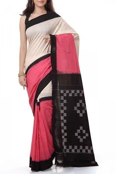 French Pink & Black Cotton Ikat Saree . Shop Online at www.EthnicKart.com