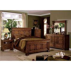 Furniture Of America Claresse Traditional 4 Piece Tobacco Oak Panel Bedroom  Set   Overstock™