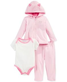First Impressions Baby Girls' 3-Piece Cat Hoodie, Bodysuit & Pants Set