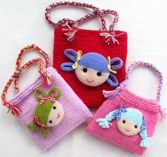 Jolly Dolly Bags Knitting pattern by DollytimeJolly Dolly Bags - small purse for children with doll face - find the knitting pattern on LoveKnitting!Jack and Jill doll knitting pattern Pdf INSTANT por dollytimeKnitting Doll French Retro Bobbin Set Wi Knitting Yarn, Free Knitting, Baby Knitting, Knitting Patterns, Crochet Patterns, Knitting Sweaters, Knitting Machine, Sewing Patterns, Knitted Dolls