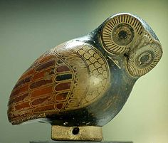 Corinthian Aryballos in the Shape of an Owl   ca. 640 BC  This owl shaped perfume container is made from molded clay and painted with black varnish using red highlights. Originating from Corinth, Greece, this aryballos can now be found at the Louvre in Paris, France. http://www.billcasselman.com/unpub_two/soap.htm