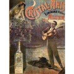 Affiche du Cristal Anis représentant un homme à la guitare jouant la sérénade à une demoiselle accoudée sur son balcon.