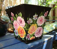 Thrift shop metal planter or wastebasket