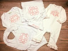 Complete outfit set includes: 1 - Pink Moonstitch Ruffle Romper with monogram 1 - White or Pink Gown with monogram 1 - Hat with Name 1 - Burp
