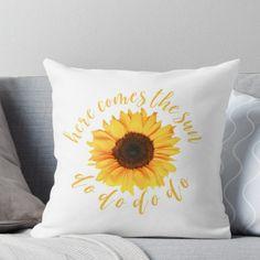 ' Throw Pillow by maria sullivan : cute yellow sunflower! Yellow Throw Pillows, Yellow Bedding, Decorative Throw Pillows, Sunflower Room, Yellow Sunflower, Sunflower Kitchen, Textiles, Blue Rooms, Mellow Yellow