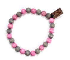 Two Tone Bracelet in Gray & Pink $10.00 #woodenbracelet #woodbracelet #goodwoodnyc #Woodjewelry #beadedbracelet