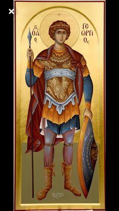 Άγιος Γεώργιος / Saint George (painted by Christos Fitzios) Byzantine Icons, Byzantine Art, Religious Icons, Religious Art, Roman Church, Picture Icon, Orthodox Christianity, Archangel Michael, Saint George