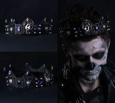 BLACK CROWN Black Crystal King Queen Gold Crown Wedding Party Male Pageant Prom #Handmade #HatsHeadwear