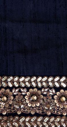 Beaded, sequinned flowers (black, navy, gold)
