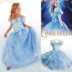 2015 New Girls Cinderella Dress Limited Edition Lace Costume Kids Party Cosplay Elsa Anna Princess Dresses Clothes Free Shipping