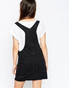 Image 2 of ASOS Denim Classic Dungaree Dress with Raw Hem in Washed Black