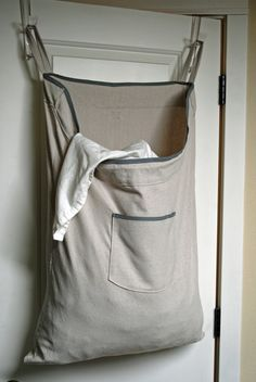 Hanging Hamper Laundry Bag -- Drawstring Bag with Shoulder Strap -- Cotton Canvas (52.00 USD) by RedCheckMarket