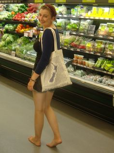 barefoot in grocery store