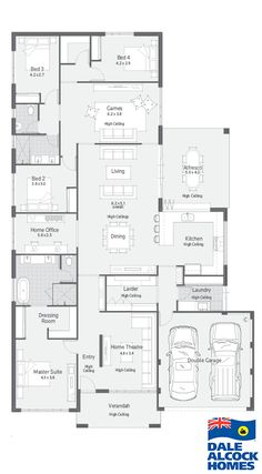 Explore our range of award winning home designs here. Choose your dream home design now with Dale Alcock. 4 Bedroom House Plans, Dream House Plans, House Floor Plans, Home Design Floor Plans, Plan Design, House Blueprints, Sims House, New Home Designs, House Layouts