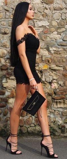 Off The Shoulder Lace Little Black Dress Source