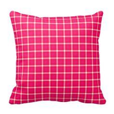 Fuchsia  Gingham Pattern Pillow $29.95