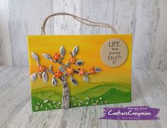 Hanging Canvas Project made using Crafter's Companion Die'sire Mixed Media Blossoming Tree Die. Designed by Gill Nicholls #crafterscompanion