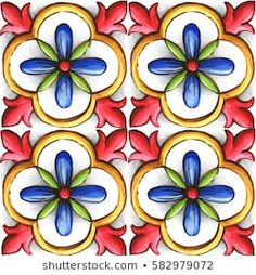 ornaments on the tiles, watercolor, spain, italy, Majolica, floral ornament Clip Art Vintage, Vintage Tile, Vintage Crafts, Tile Crafts, Mosaic Crafts, Hand Painted Plates, Hand Painted Ceramics, Tile Patterns, Print Patterns