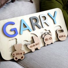 Wooden Name Puzzle / Montessori Toys / Baby Gift / Nursery Decor / Wooden Toys Baby Shower Gift / Christmas Gift for Kids Baby Metric Wooden Names, Wooden Puzzles, Wooden Toys, Kids Puzzles, Wooden Crafts, Gravure Laser, Laser Cutter Ideas, Name Puzzle, Toddler Gifts