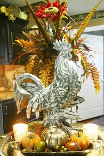 Southern Charm: Shaking My Tail Feathers with More Fall Florals. Your rooster collection is perrrfect for country fall table center piece display from mid Sept until time for Christmas display but def could be included at Christmas too!!
