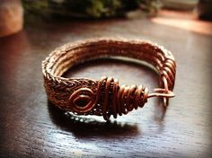 VIKING KNIT Flat Copper Bracelet with Spirals 2 by thewellandspindle