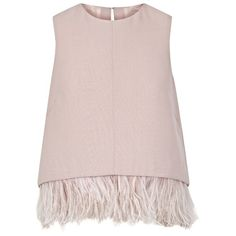 The 2nd Skin Co Pale Pink Crepe And Feathers Top found on Polyvore featuring tops, shirts, blusas, pink, pink top, pink sleeveless shirt, crepe top, no sleeve shirts and feather shirt