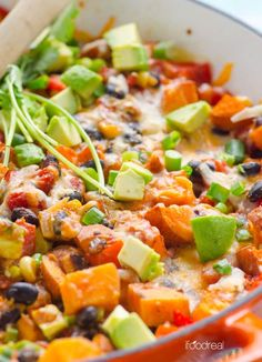 Sweet Potato Skillet is a healthy and delicious 30 minute vegetarian dinner recipe with avocado, beans, corn and cheese. | ifoodreal.com
