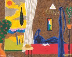 Yochanan Simon - A Room in the Kibbutz with a Window View, Oil on canvas, 27X35 cm.