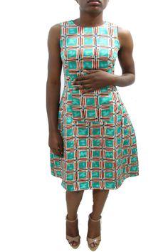 Green Short Flared Dress #grey #africanfashion #NigerianFashion #BuyNigerian   Available at http://lespacebylpm.com/