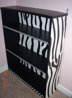 I need to do something similar to the girls' bookshelves. maybe bright pink instead of the checkered areas.