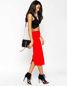 ASOS COLLECTION ASOS High Waist Longerline Pencil Skirt   |  ≼❃≽  @kimludcom